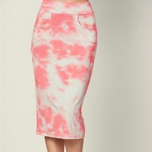 Dresses & Skirts - Plus-Easy midi skirt-coral and white